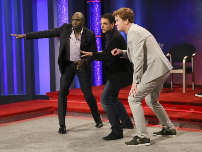 """Whose Line Is It Anyway? -- """"Ralph Macchio"""" -- Image WL421_ Ralph Macchio _0004.jpg -- Pictured (L-R): Wayne Brady, Ralph Macchio, Jonathan Mangum and Colin Mochrie -- Photo: Patrick Wymore/The CW -- © 2017 The CW Network, LLC. All Rights Reserved"""